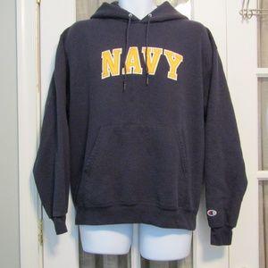 """Men's """"NAVY"""" Blue Pull Over Hooded Sweatshirt"""